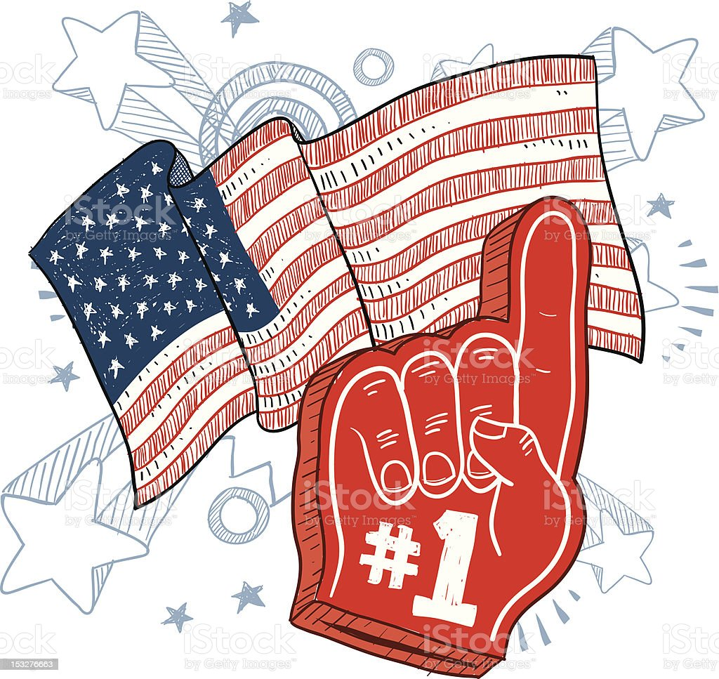 America is Number One Sketch vector art illustration