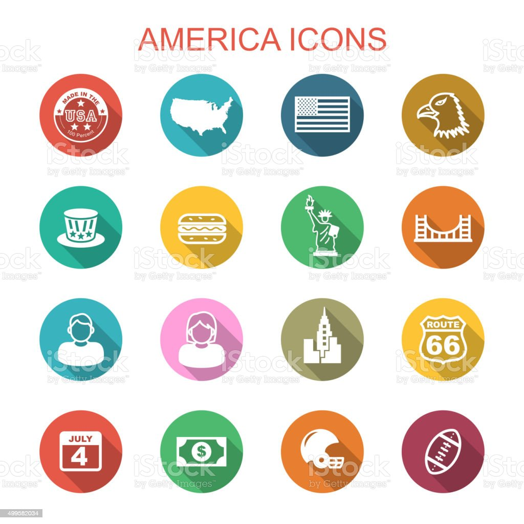 america long shadow icons vector art illustration