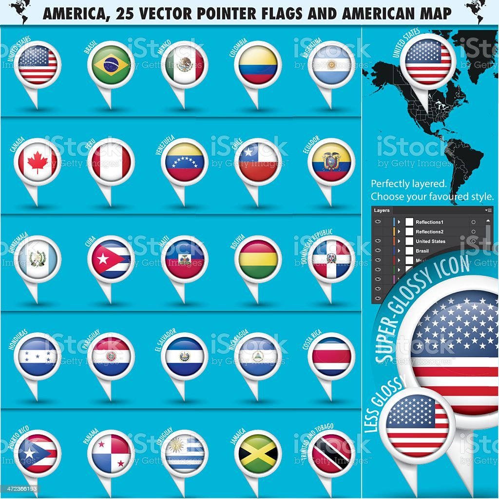 America Pointer Flag Icons with american Map set1 royalty-free stock vector art