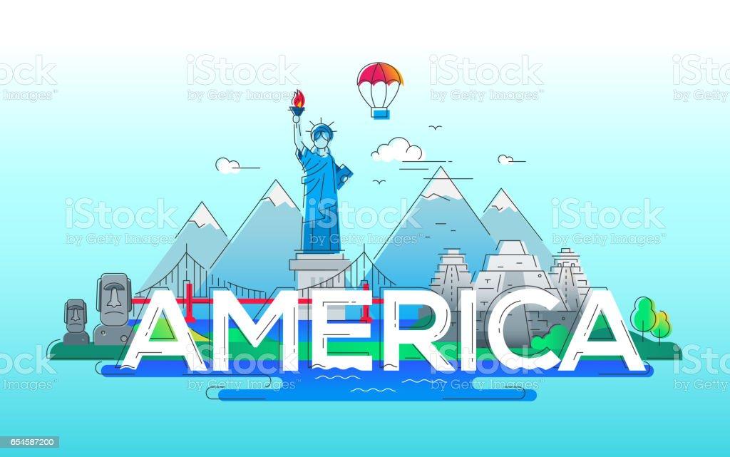 America - vector line travel illustration vector art illustration