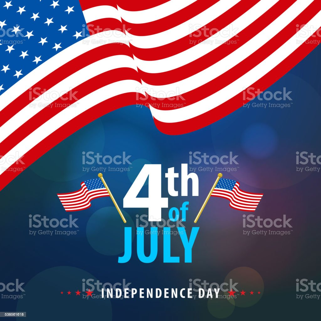 American 4th July Flags vector art illustration