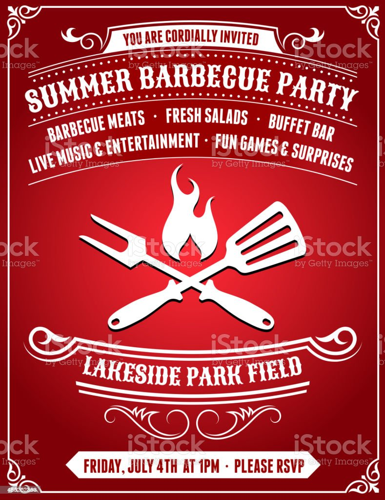American 4th of July Barbecue Party on Red Backgroundg vector art illustration