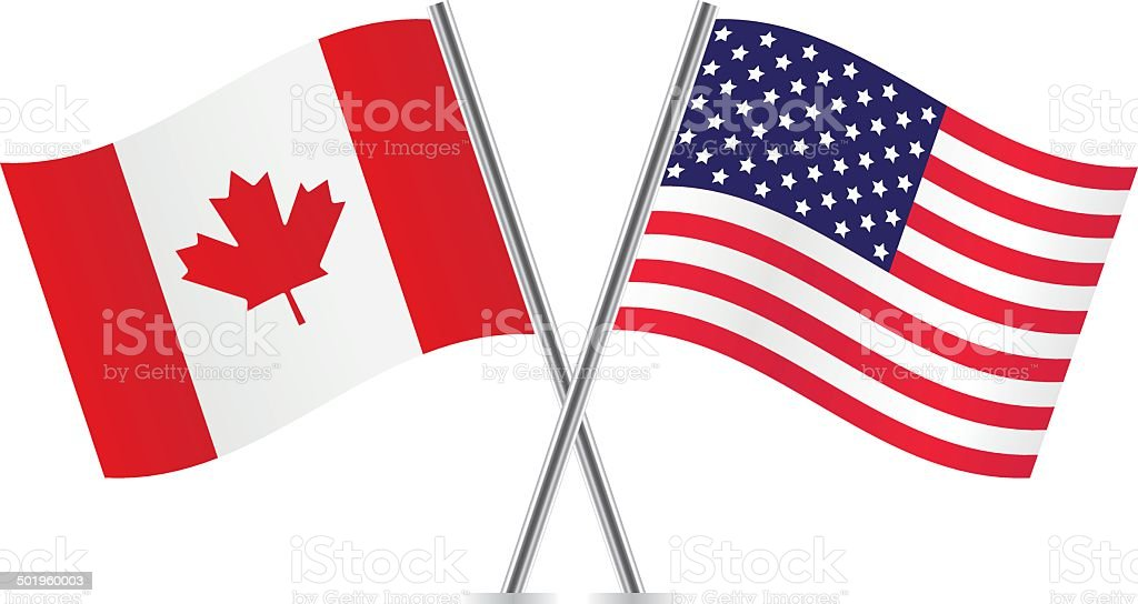 American and Canadian flags. vector art illustration