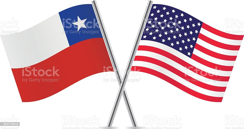 American and Chilean flags. Vector. vector art illustration