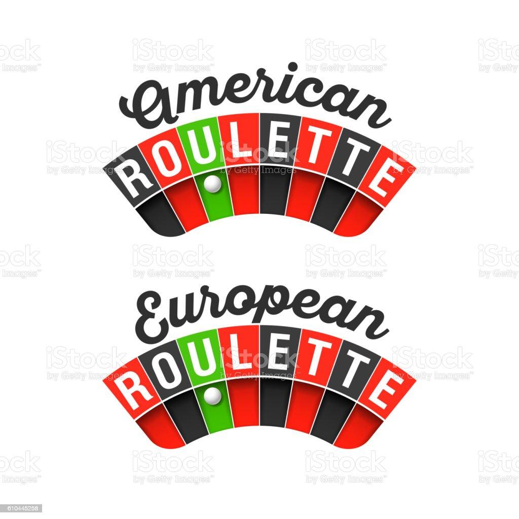 American and European Roulette wheel vector art illustration