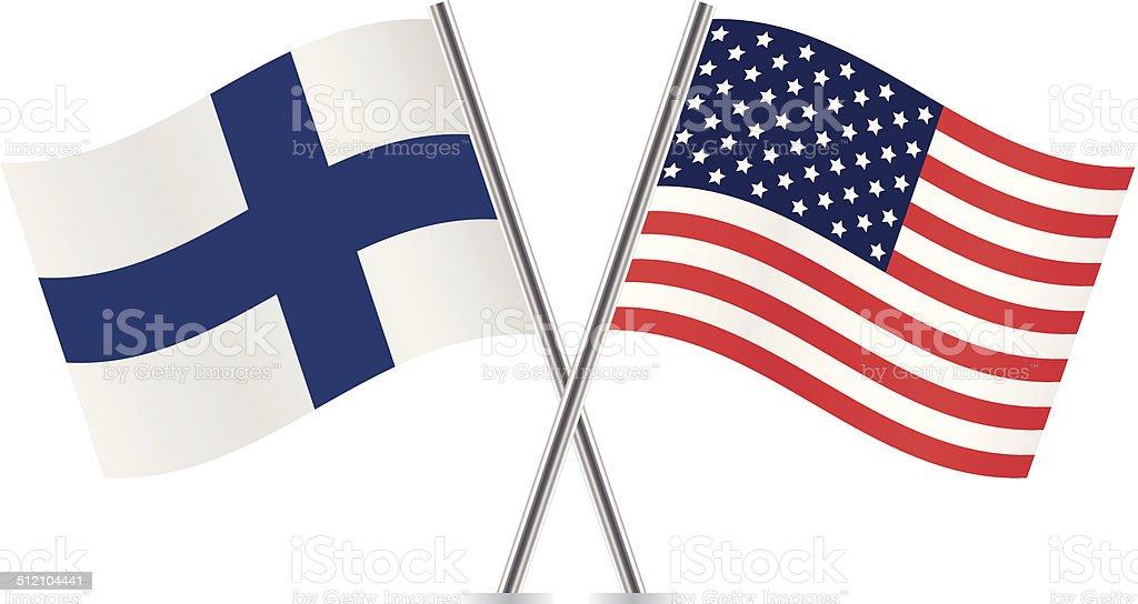American and Finnish flags. Vector. vector art illustration