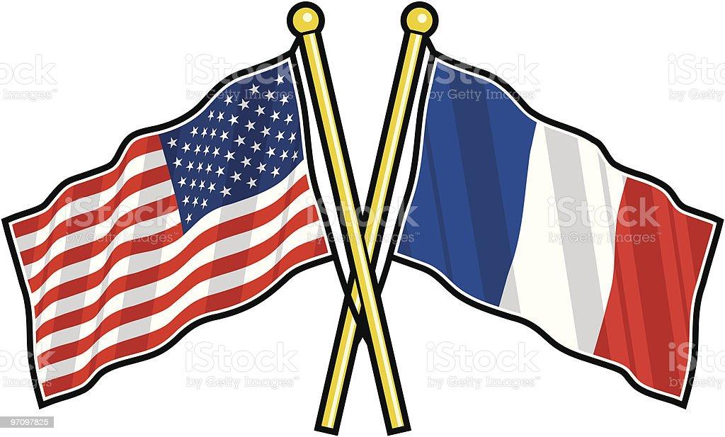 fran u00e7ais drapeau am u00e9ricain et lamiti u00e9 stock vecteur libres