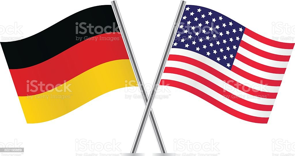 American and German flags. vector art illustration