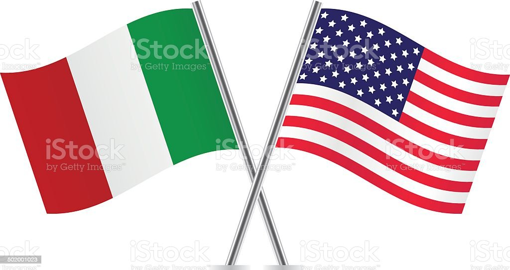 American and Italian flags. vector art illustration