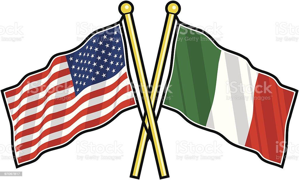American and Italian Friendship flag vector art illustration