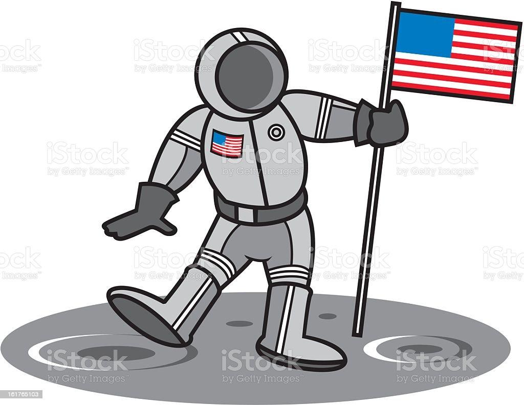 American Astronaut on the Moon royalty-free stock vector art