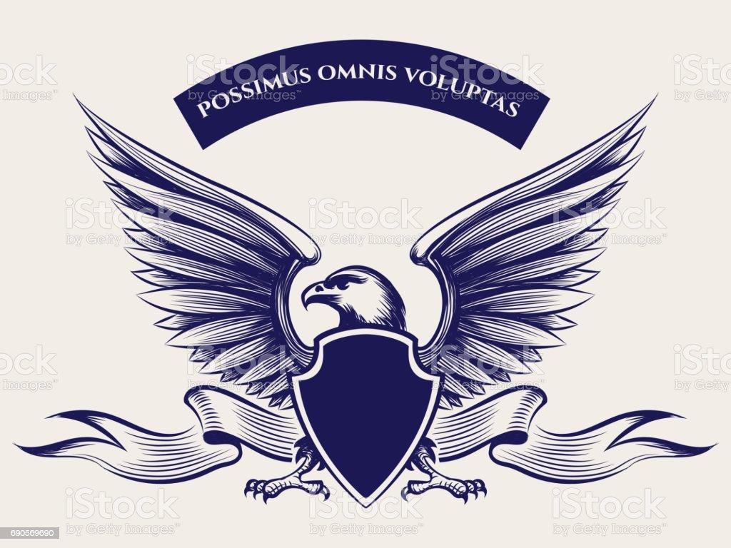 American bald eagle mascot vector art illustration