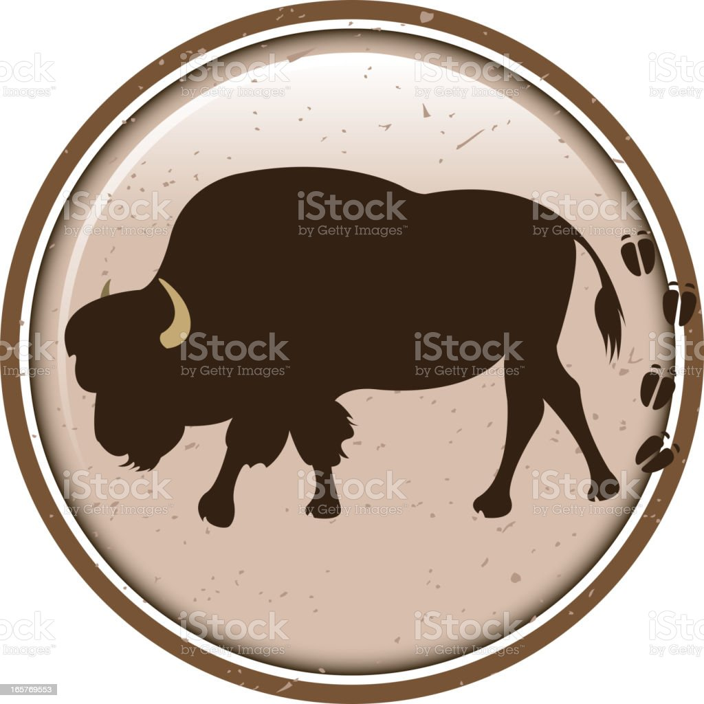 american bison silhouette label royalty-free stock vector art