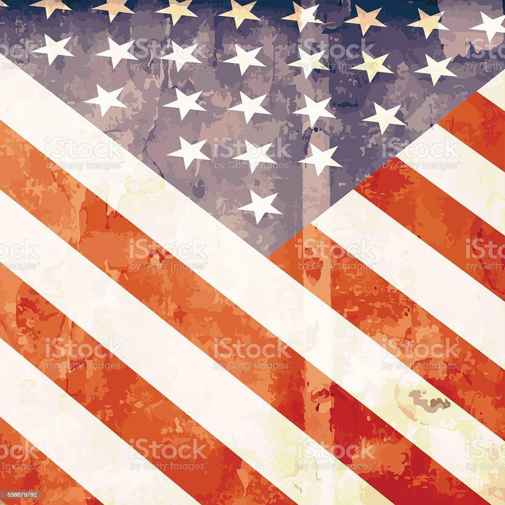 American bright flag in grunge style vector art illustration