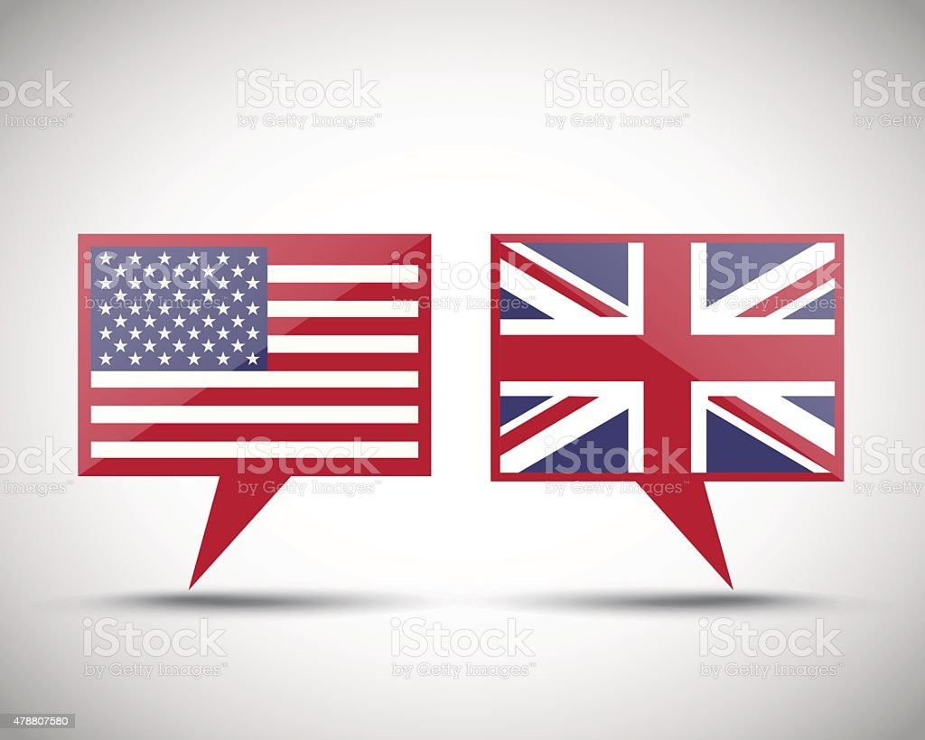 American British conversation speech bubbles vector art illustration