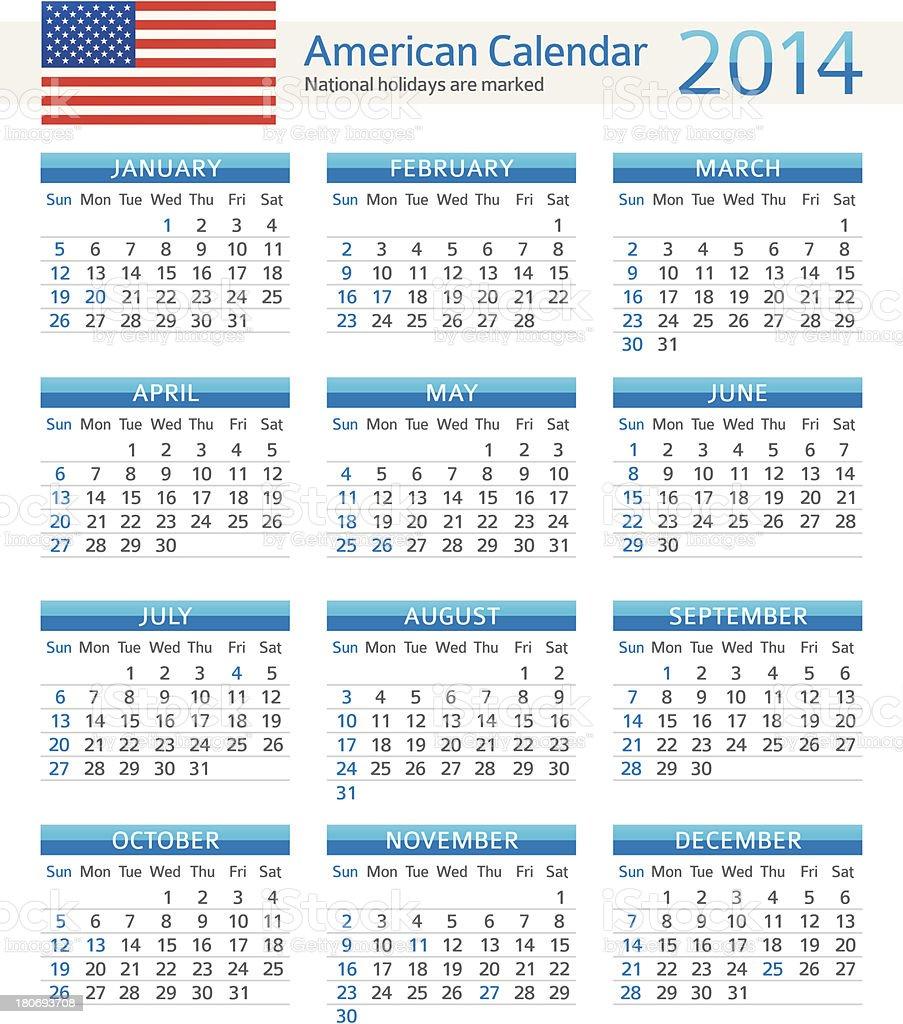 American Calendar 2014 royalty-free stock vector art