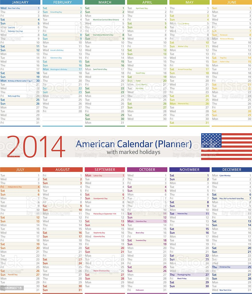 American Calendar / Planner 2014 royalty-free stock vector art