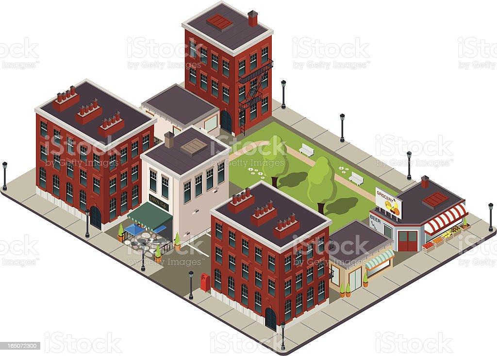 American city block vector art illustration
