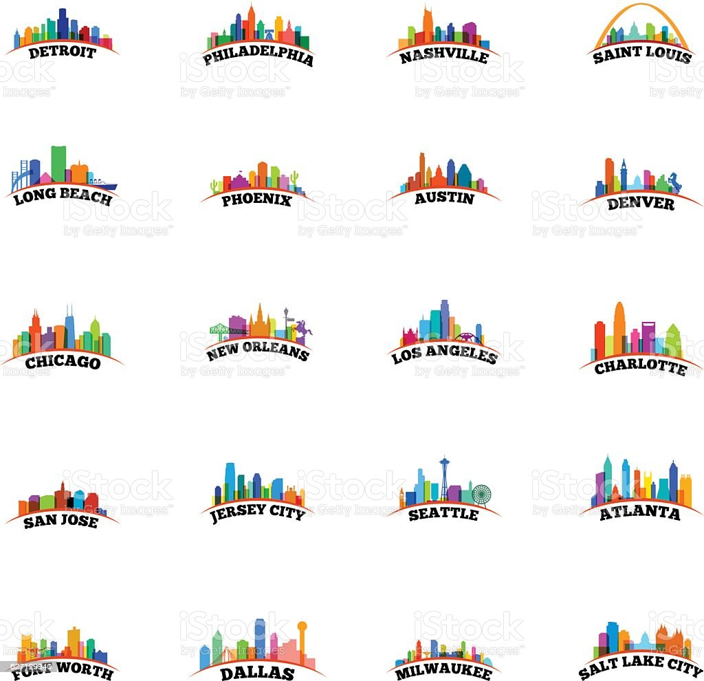 American Cityscapes Overlay vector art illustration