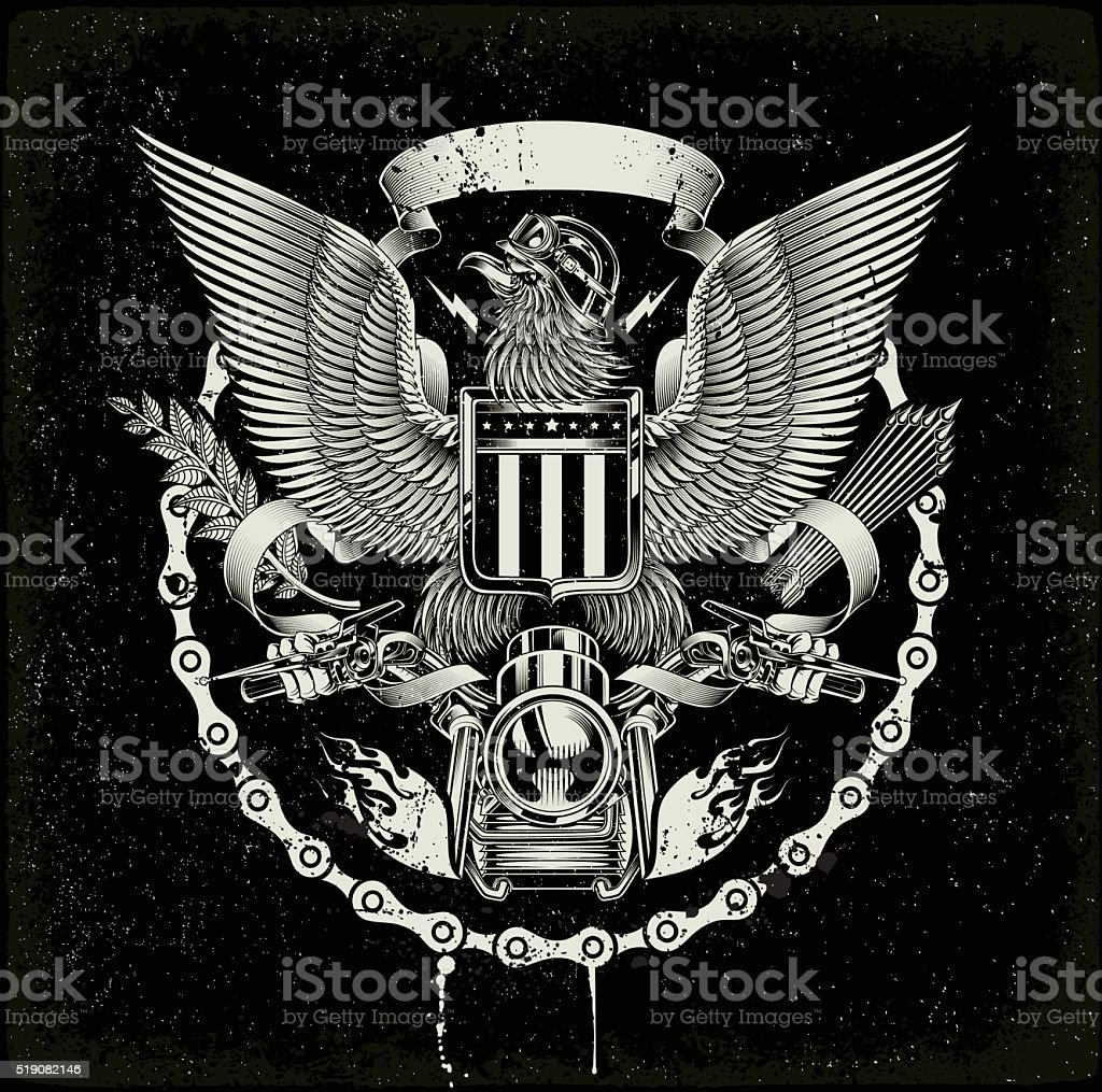 american coat of arms - Biker eagle vector art illustration