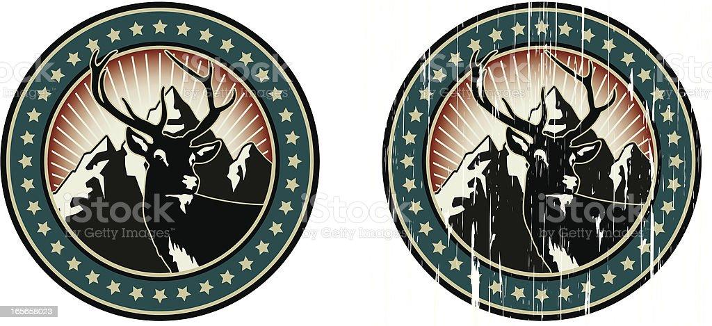 american deer emblem royalty-free stock vector art