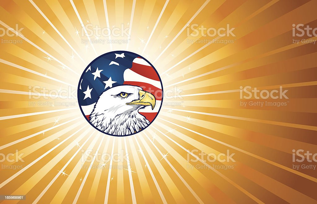 American Eagle with Flag Background royalty-free stock vector art