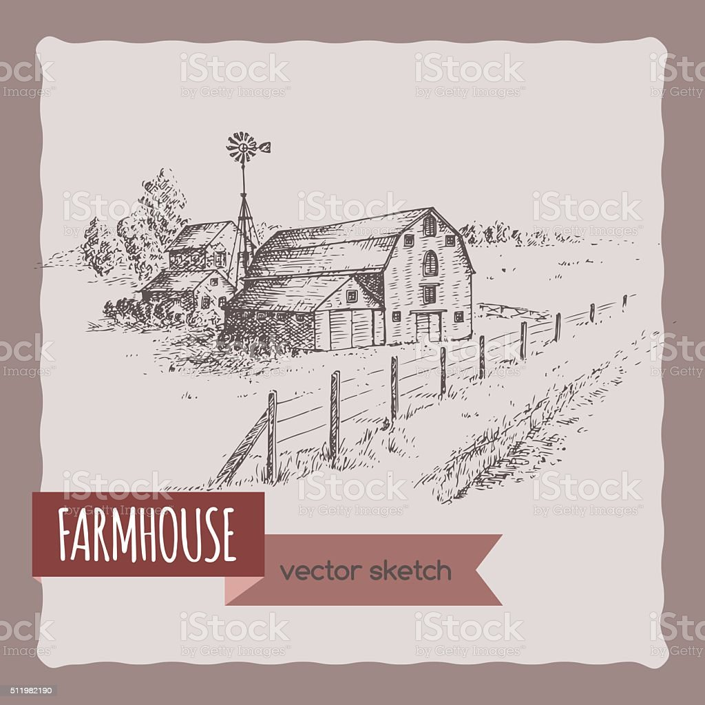 American farm house, barn and pasture hand drawn vector sketch. vector art illustration