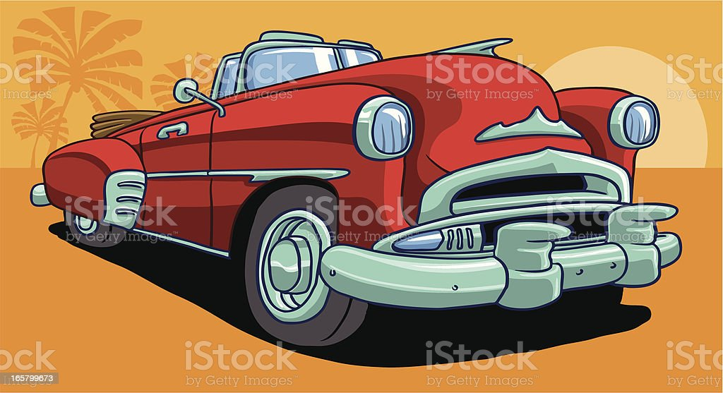 american fifties classic chevy car vector art illustration