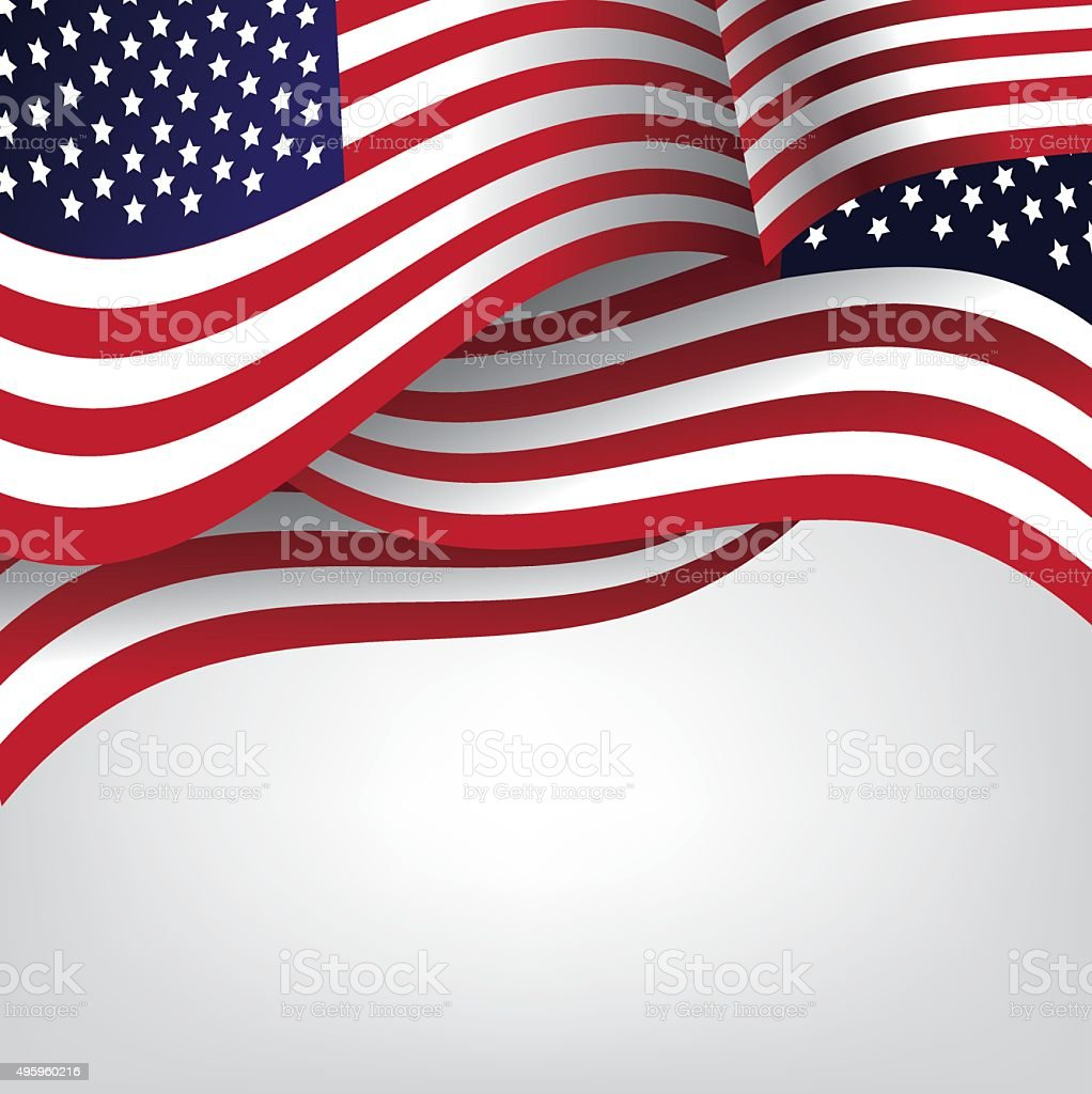 American flag background with copy space vector art illustration