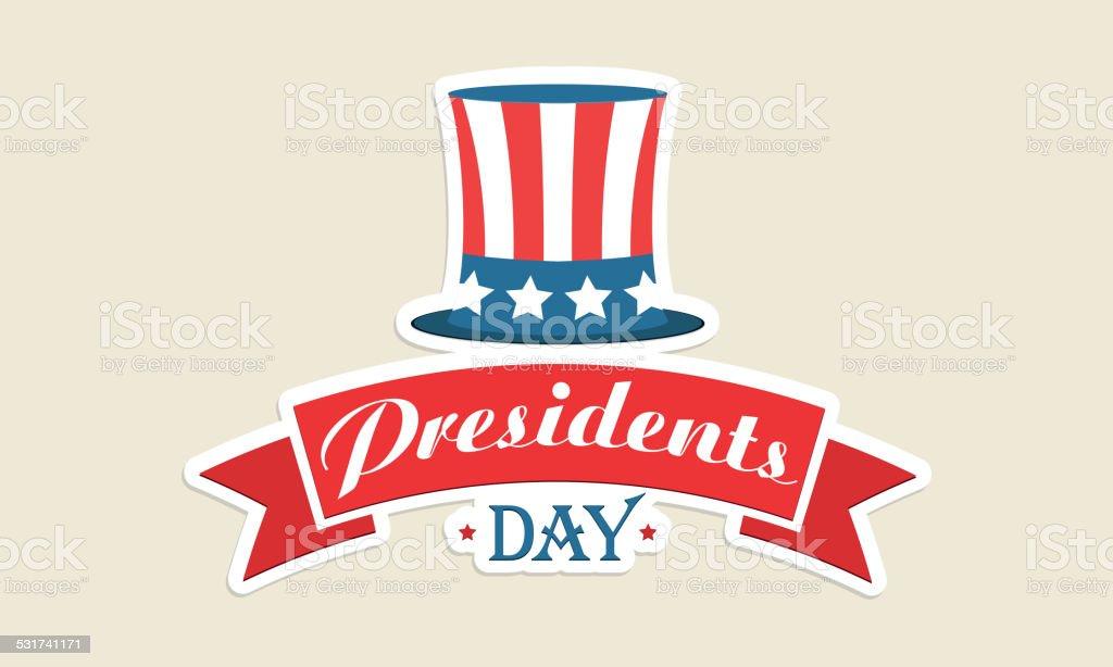 American flag color hat for Presidents Day celebration. vector art illustration