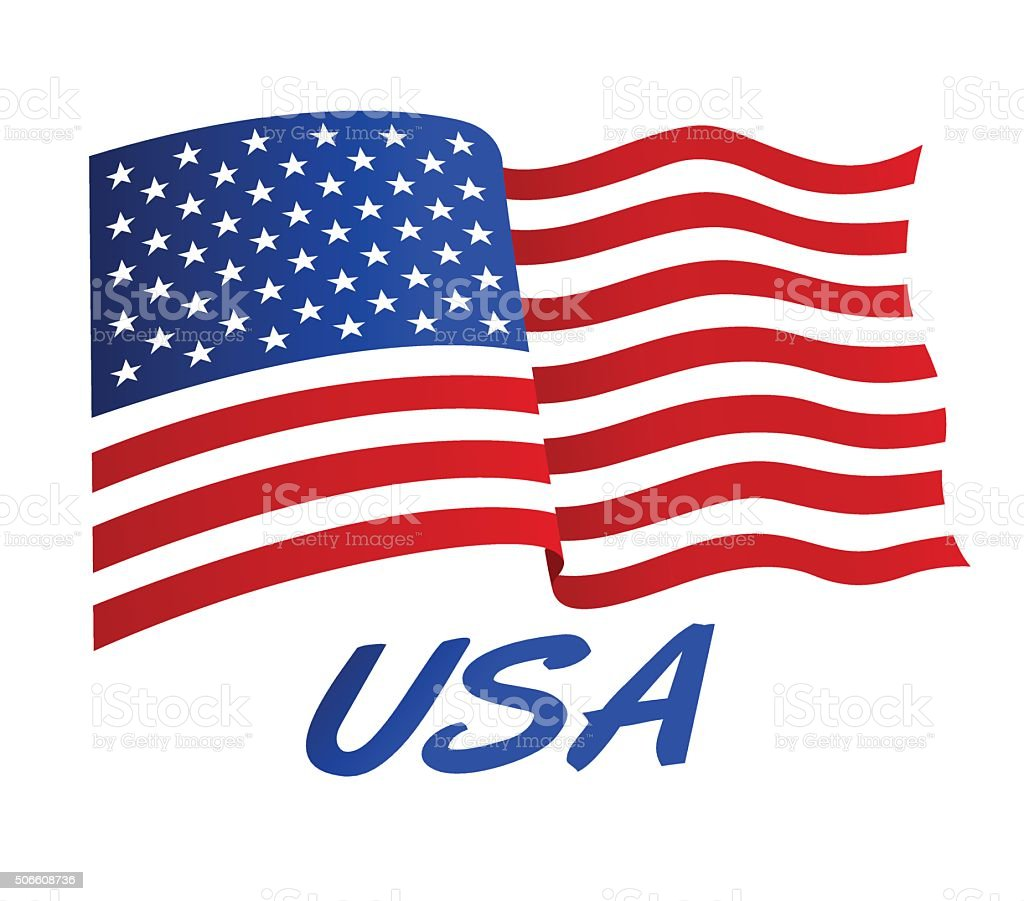 American flag in wind with USA vector art illustration