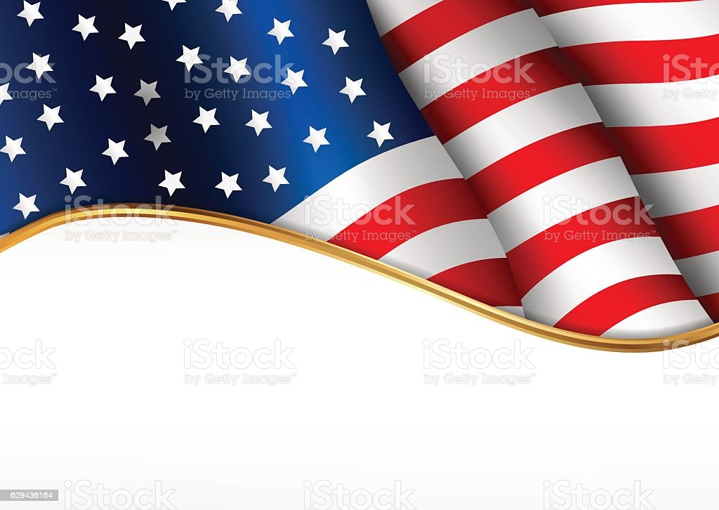 American flag. Independence Day banner. vector art illustration
