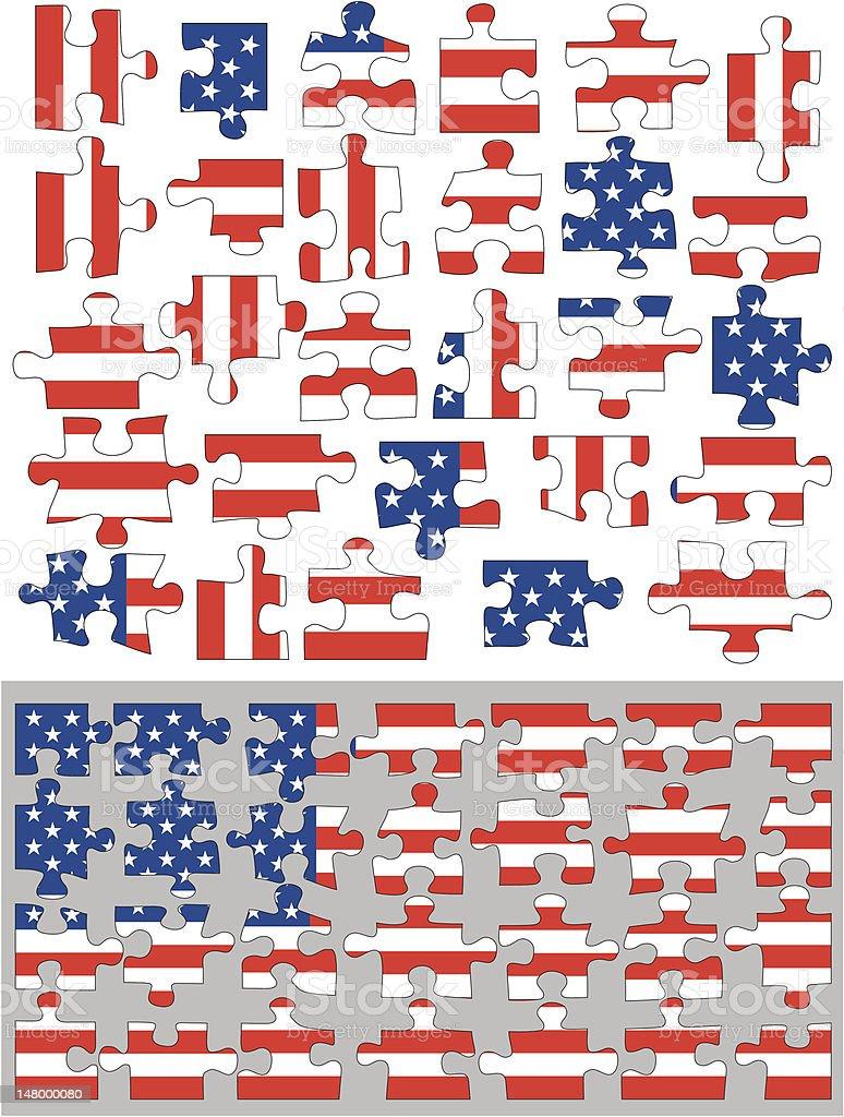 American flag jigsaw royalty-free stock vector art