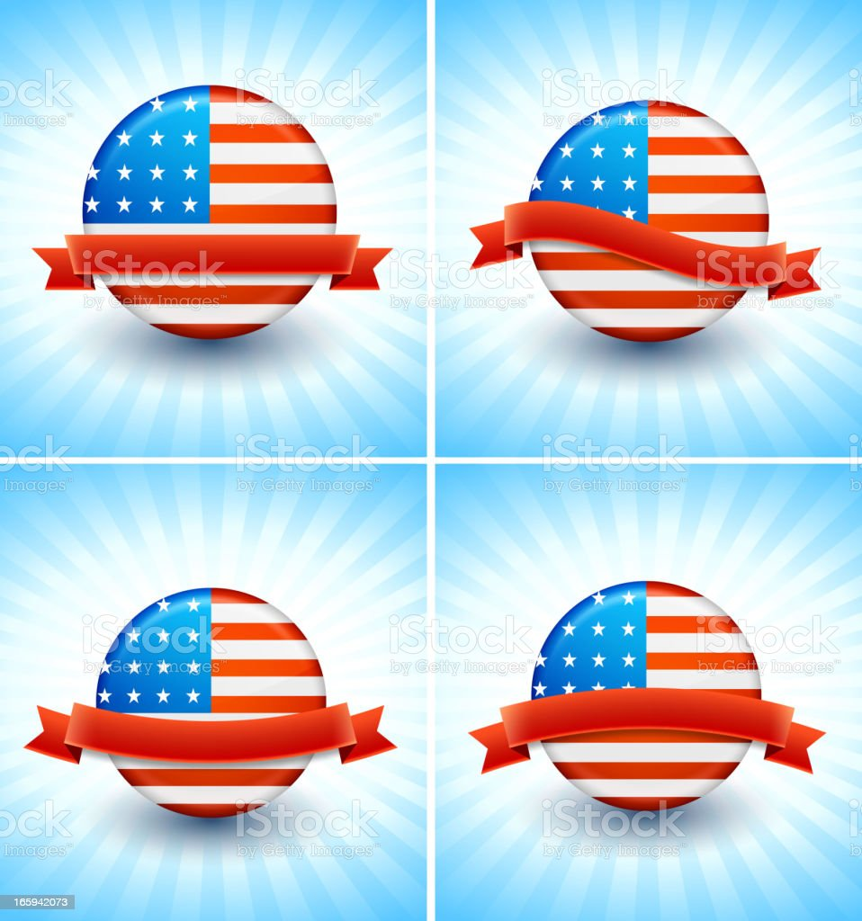 American Flag Political Buttons royalty-free stock vector art