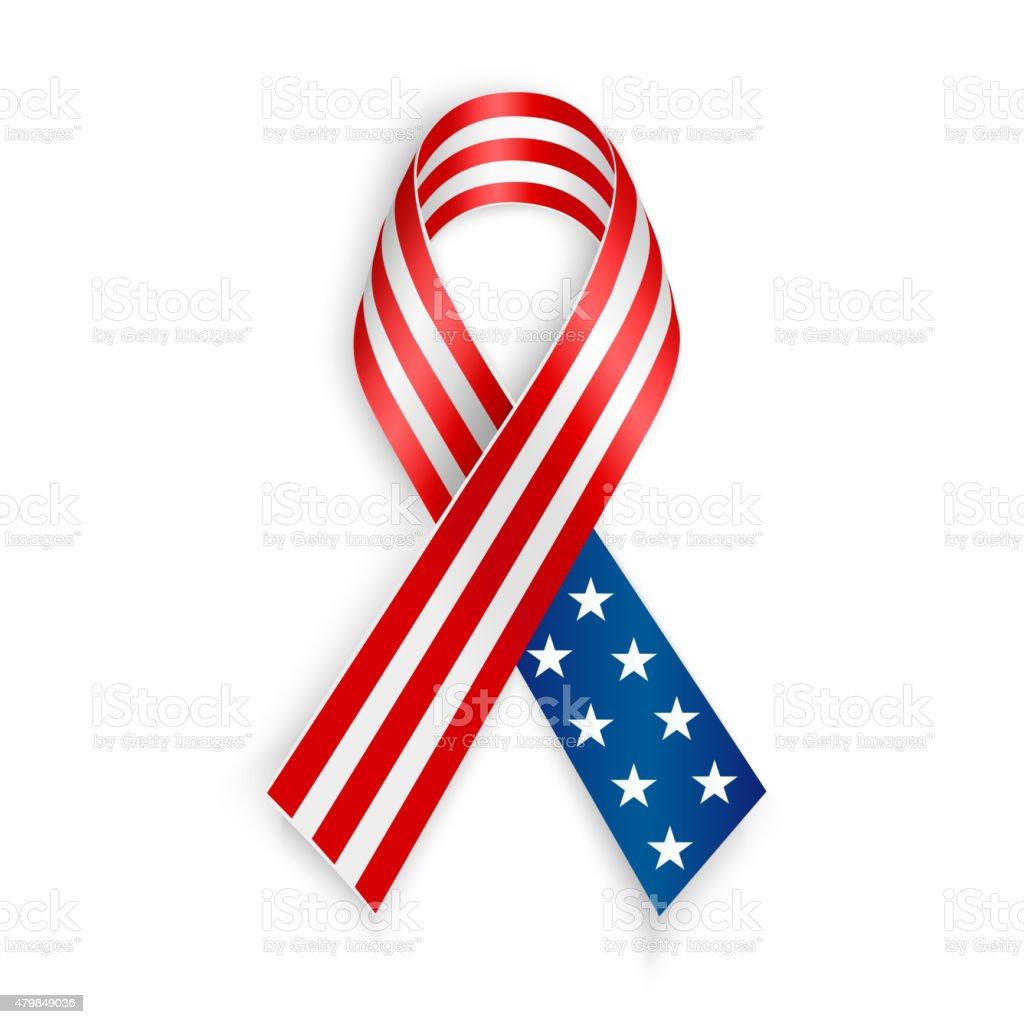 American Flag Ribbon vector art illustration