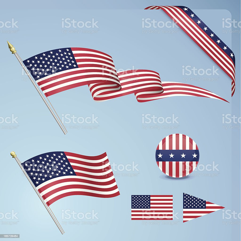 American Flag Set royalty-free stock vector art