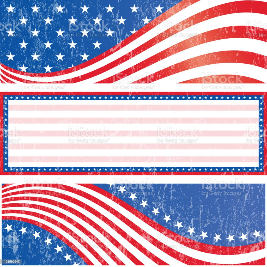 American flag stickers set vector art illustration