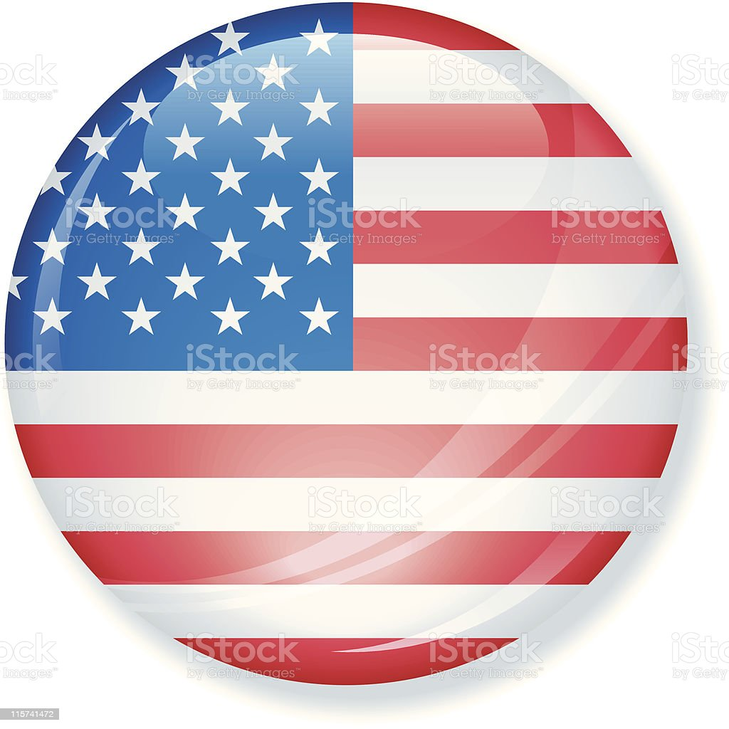 American Flag Super Glossy Button royalty-free stock vector art