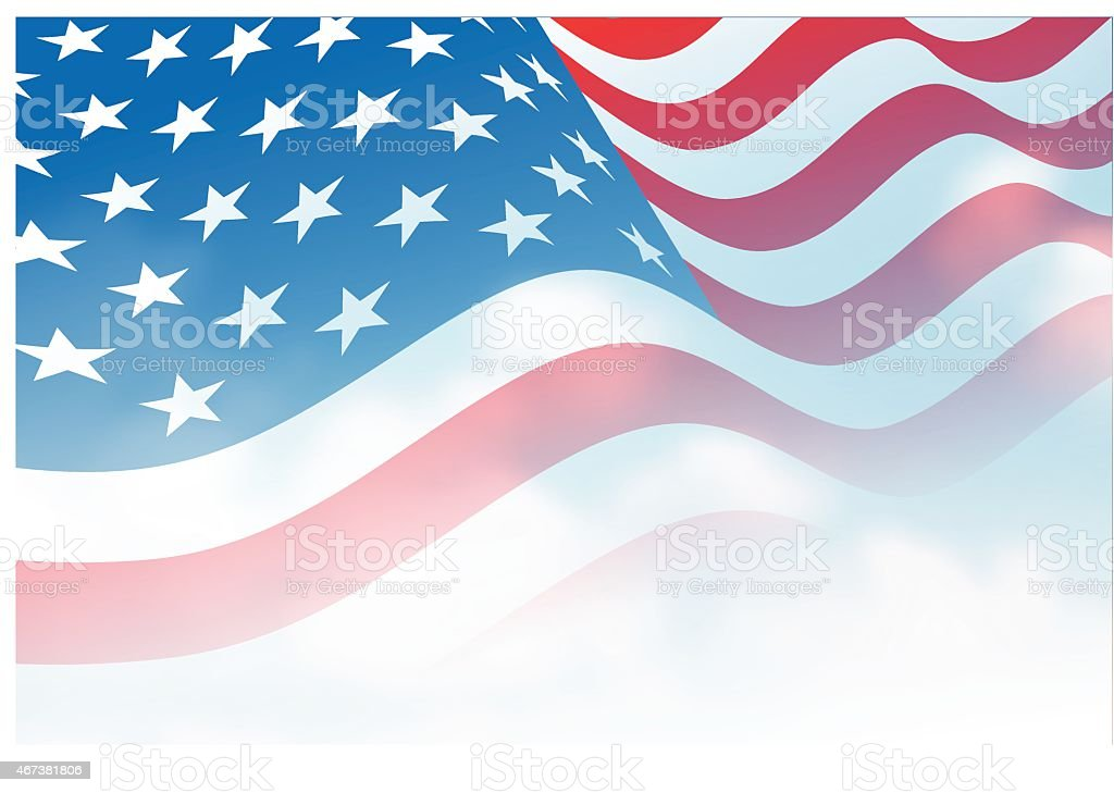 American flag vector art illustration