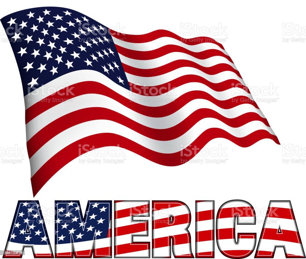 American Flag with AMERICA vector art illustration