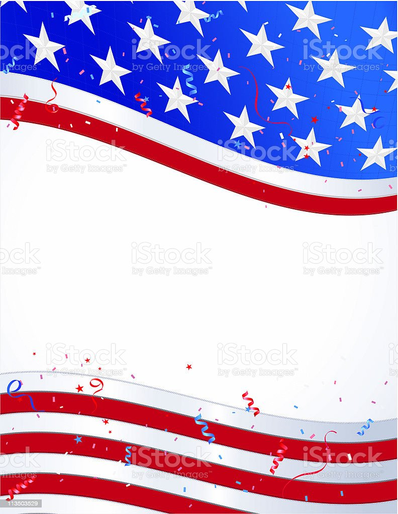 American Flag with Confetti and Streamers royalty-free stock vector art