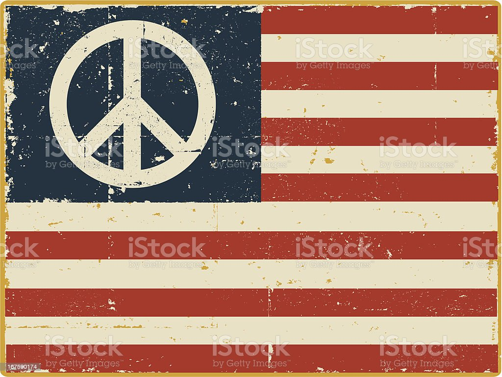 American Flag with Peace Symbol vector art illustration