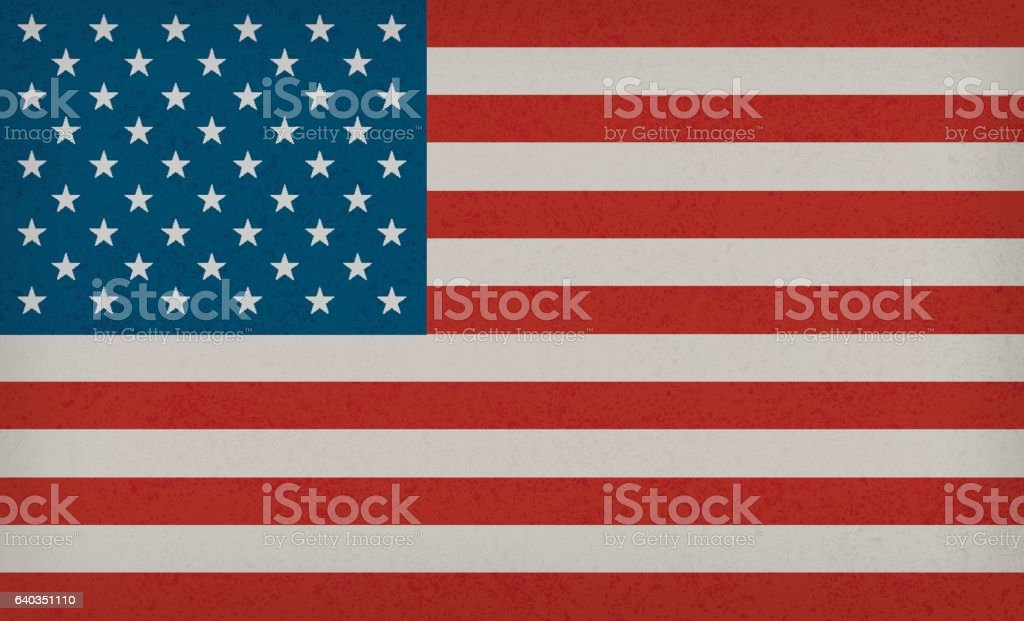 American Flag with texture - Background vector art illustration
