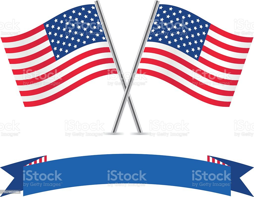 American flags and banner. vector art illustration