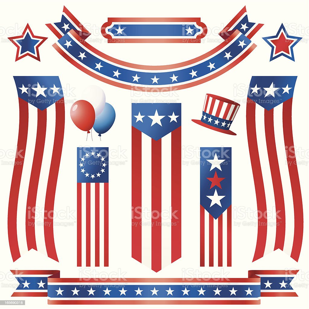 American Flags and Ribbons royalty-free stock vector art