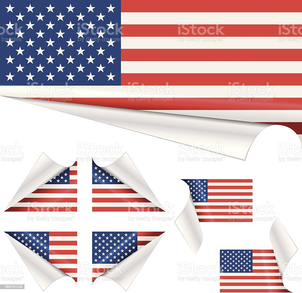 American Flags behind Curled Paper royalty-free stock vector art
