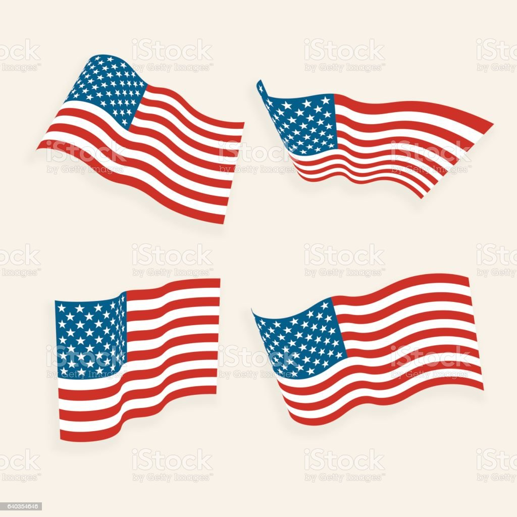 American Flags in the Wind Collection - Vector vector art illustration