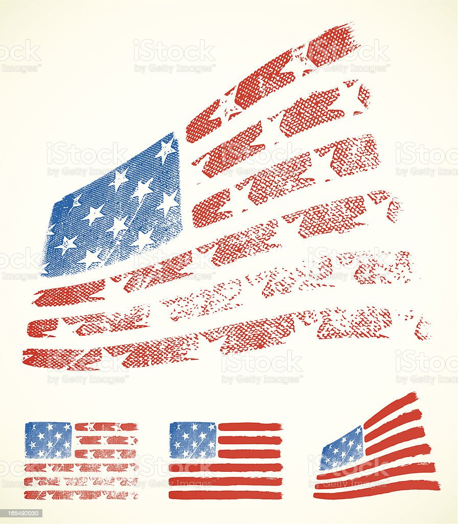 American flags royalty-free stock vector art