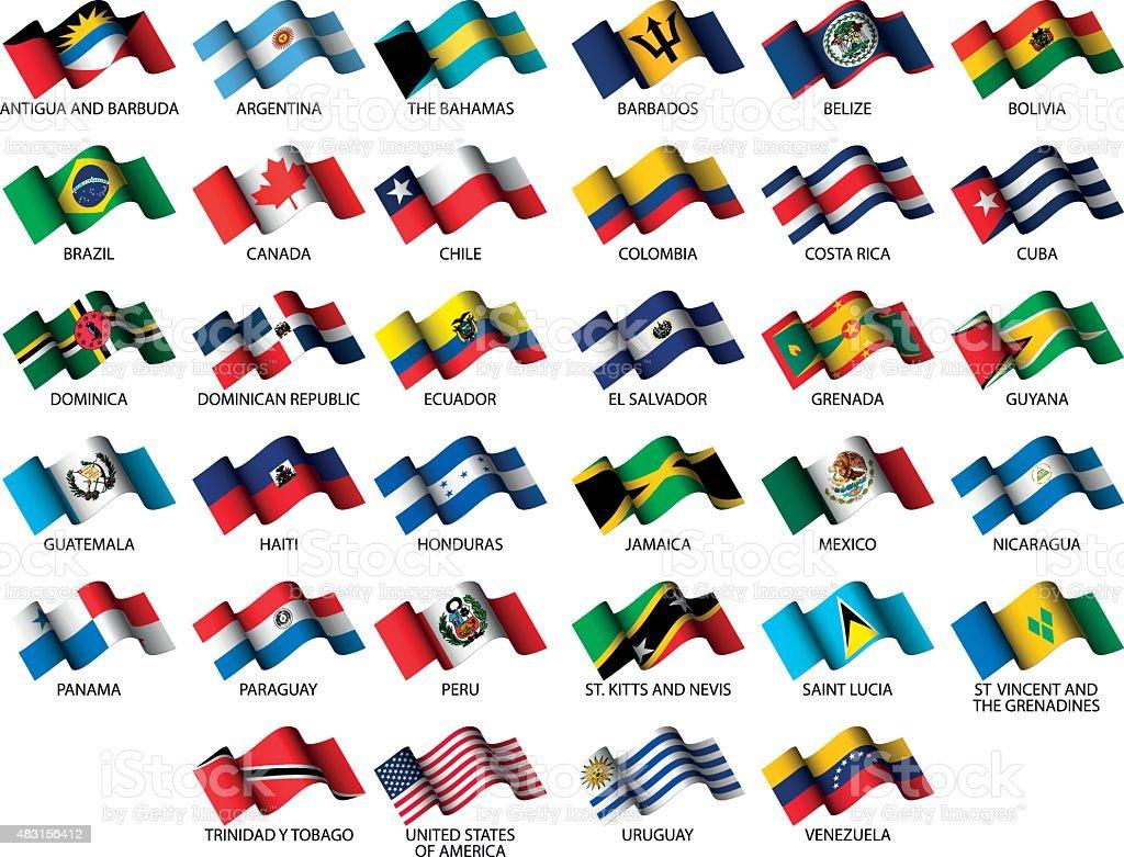 american flags vector art illustration