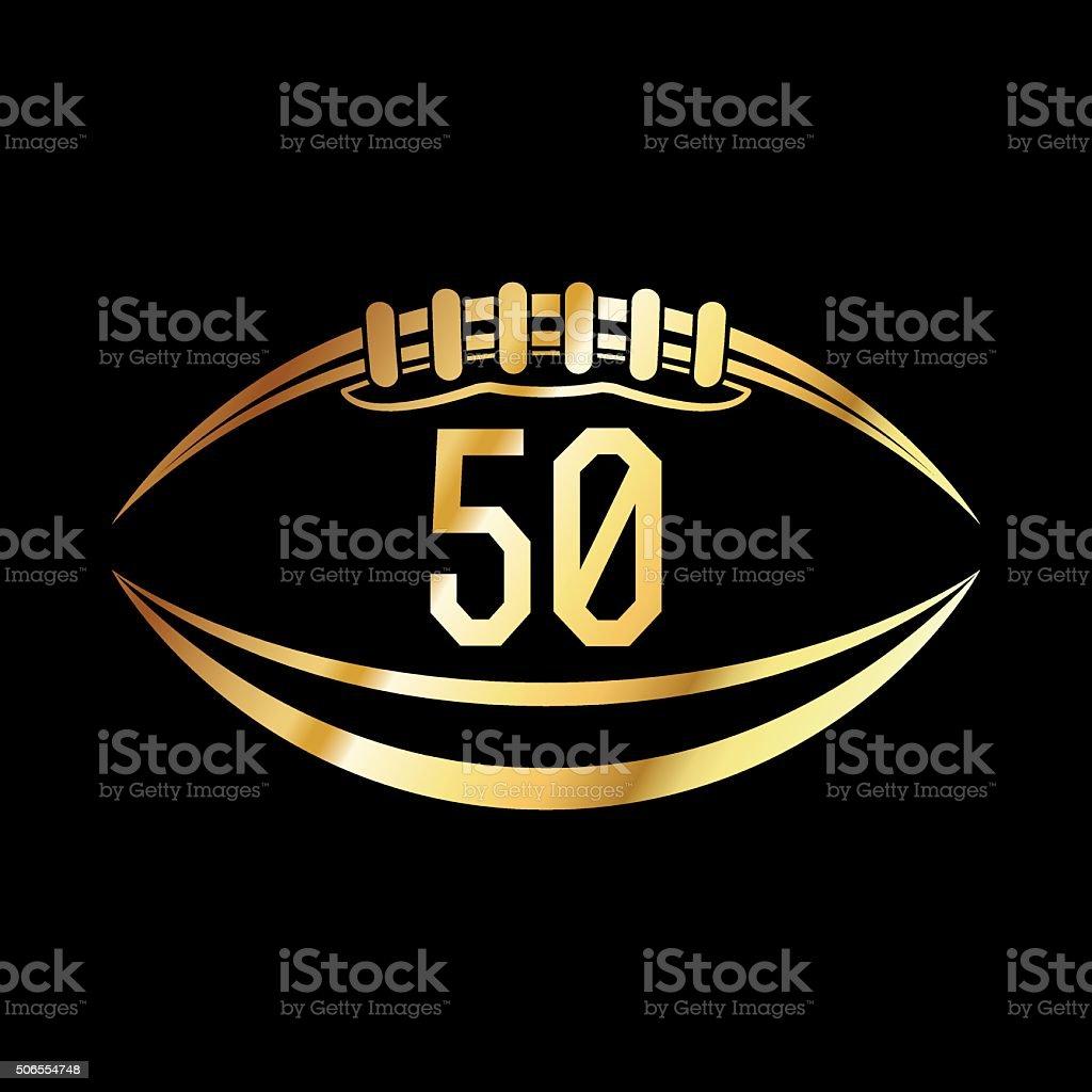 American Football 50 Emblem vector art illustration